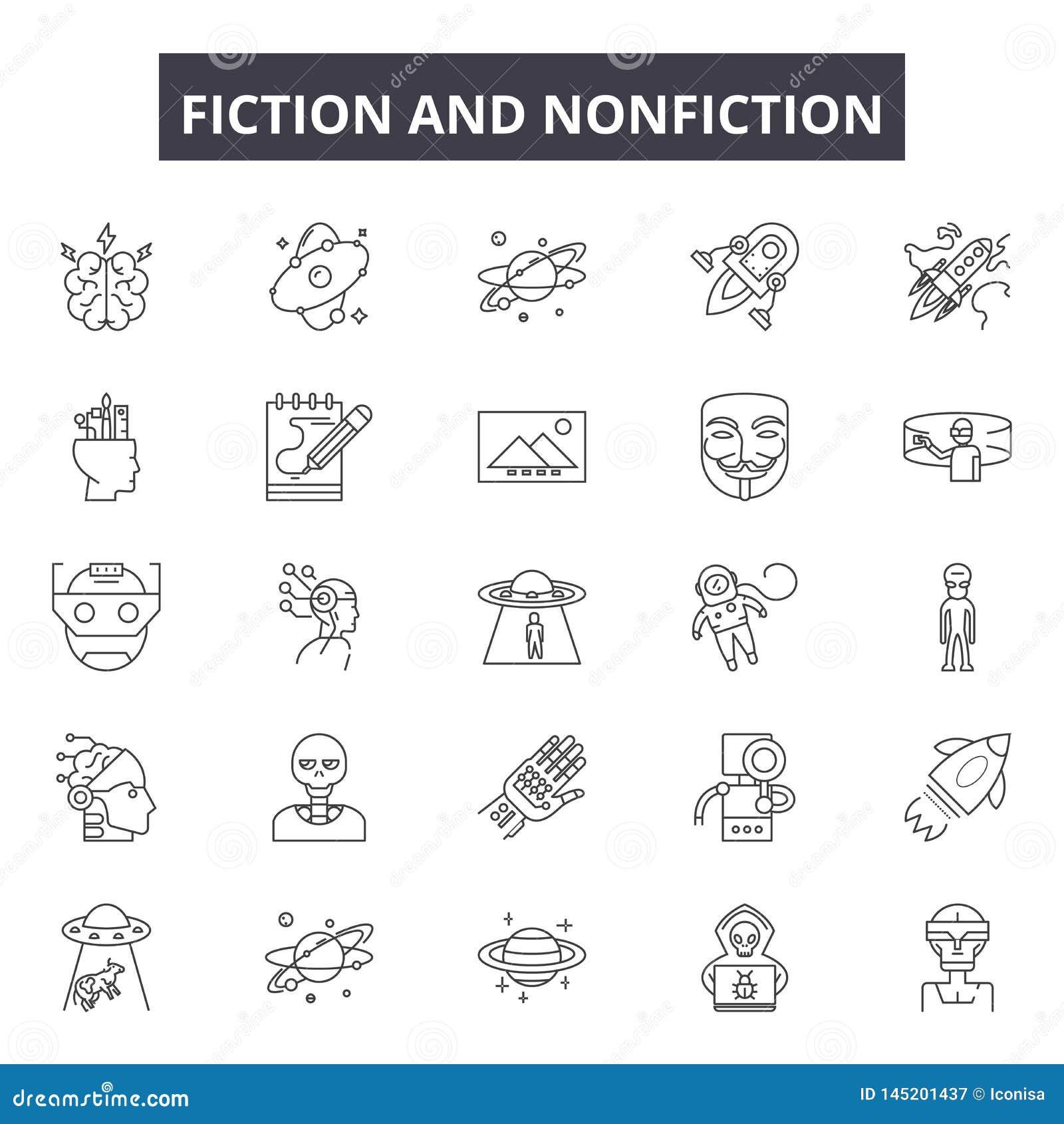 Fictioin i literatura faktu kreskowe ikony, znaki, wektoru set, kontur ilustracji pojęcie