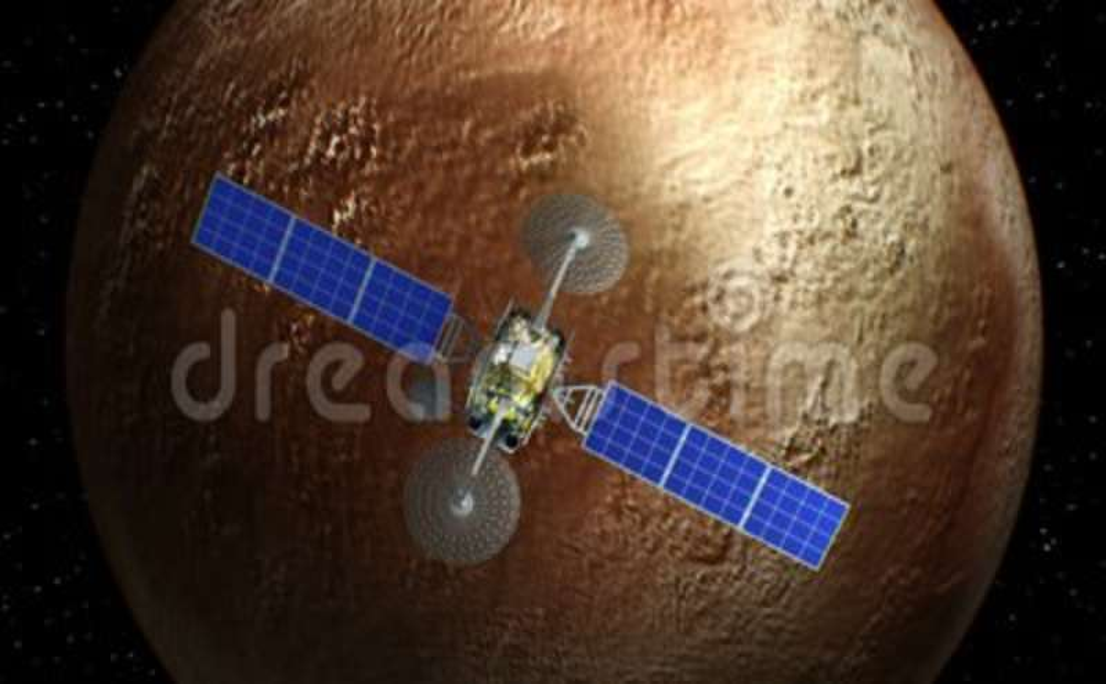 Fictional satellite on Pluto background