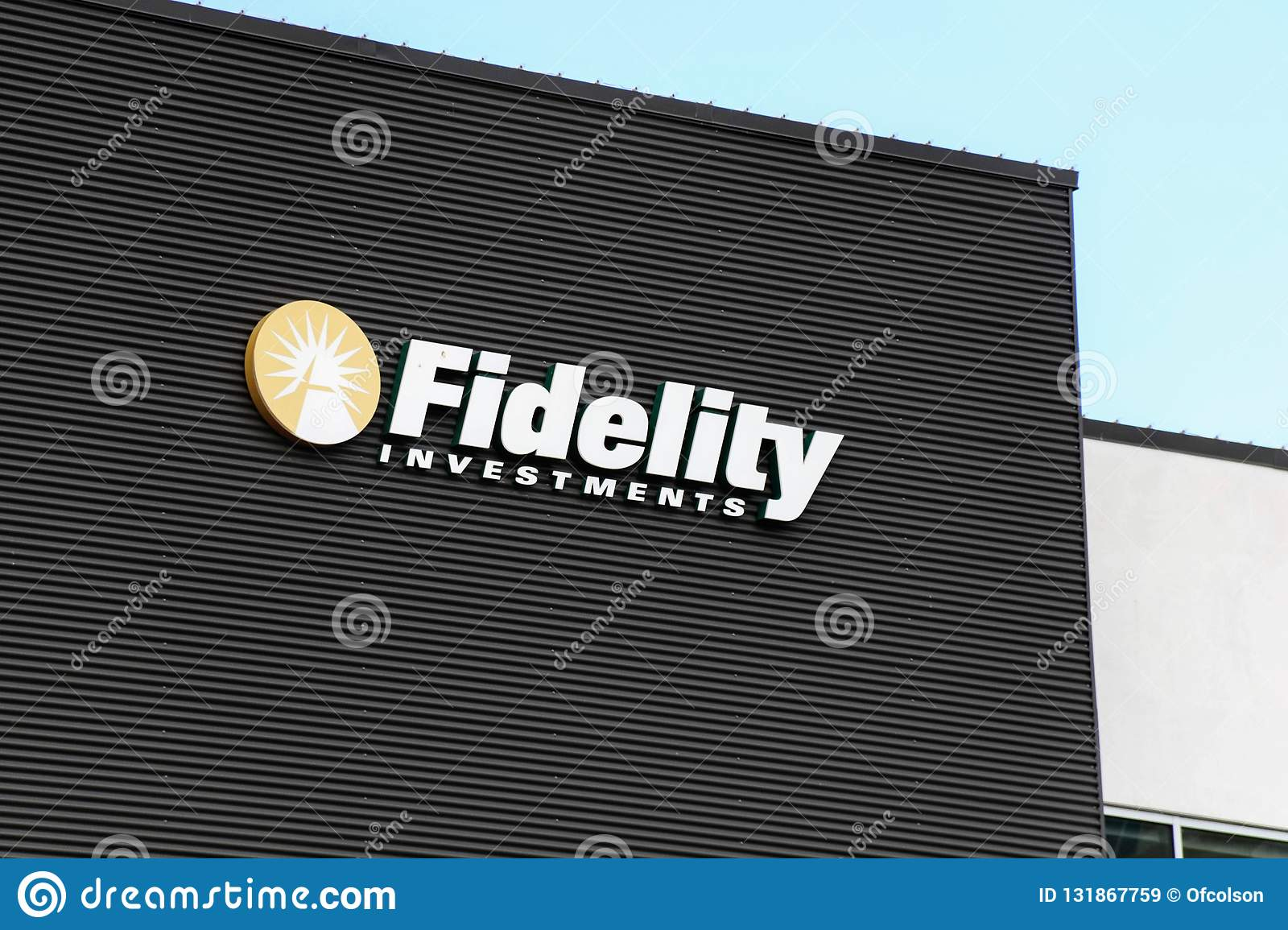 Fidelity Investments Logo On The Side Of A Building Editorial Stock