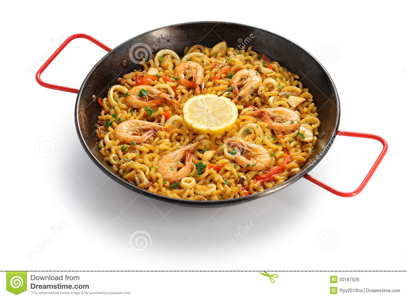 Fideua de marisco seafood pasta paella spanish cuisine for Cuisine in spanish