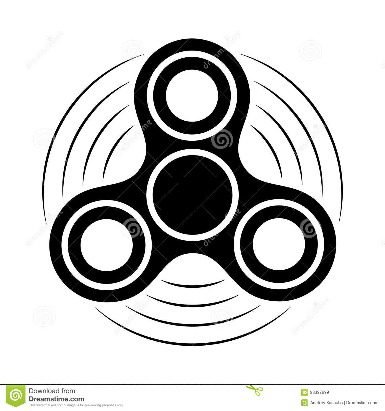 Download Fidget Spinner Black And White Icon. Hand Rotation Antistress Toy  For Relax. Twist