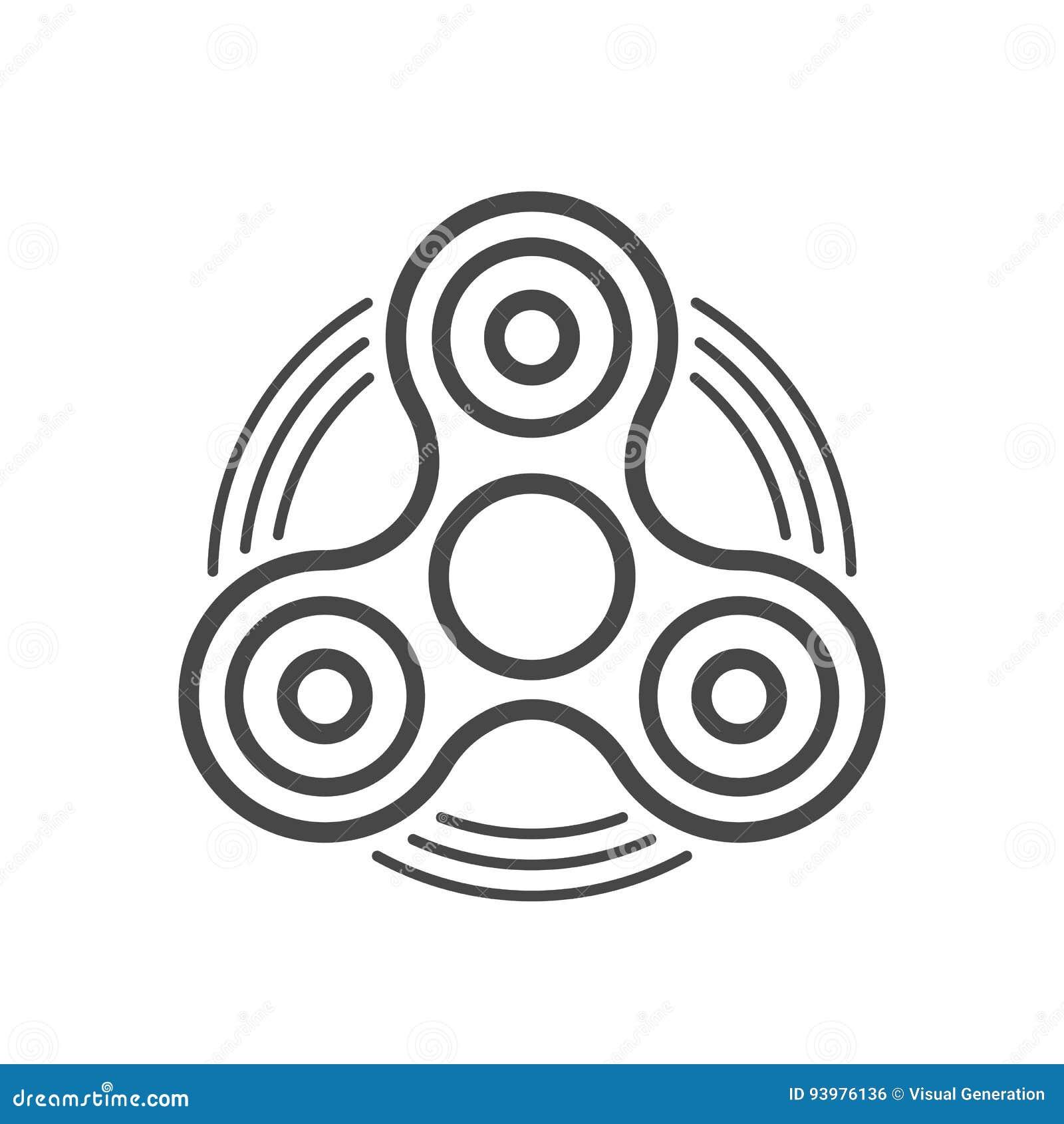 Ausmalbilder Fidget Spinner: Fidget Spinner Line Vector Icon. Stock Vector