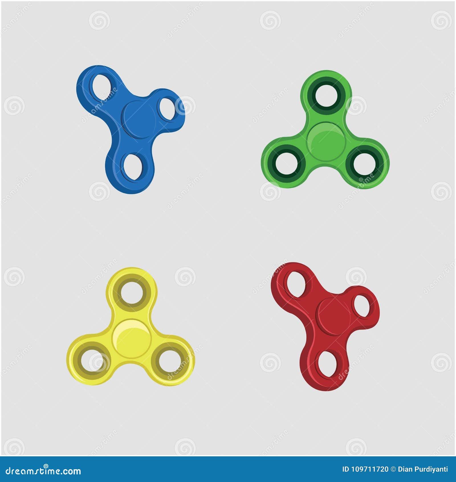 fidget spinner set ids toy fun illustration vector design stock