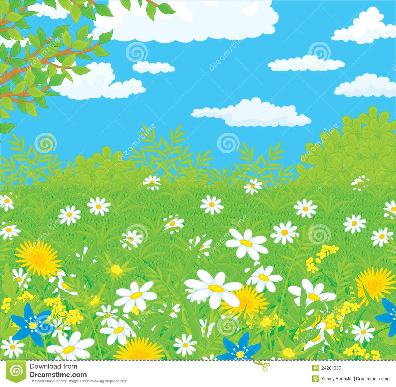 Field With Flowers Stock Vector Illustration Of Bush 24281065