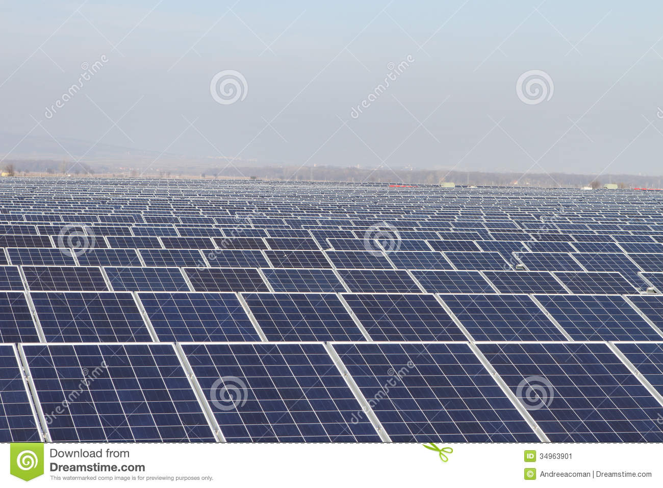 Field Of Green Energy Photovoltaic Solar Panels Stock