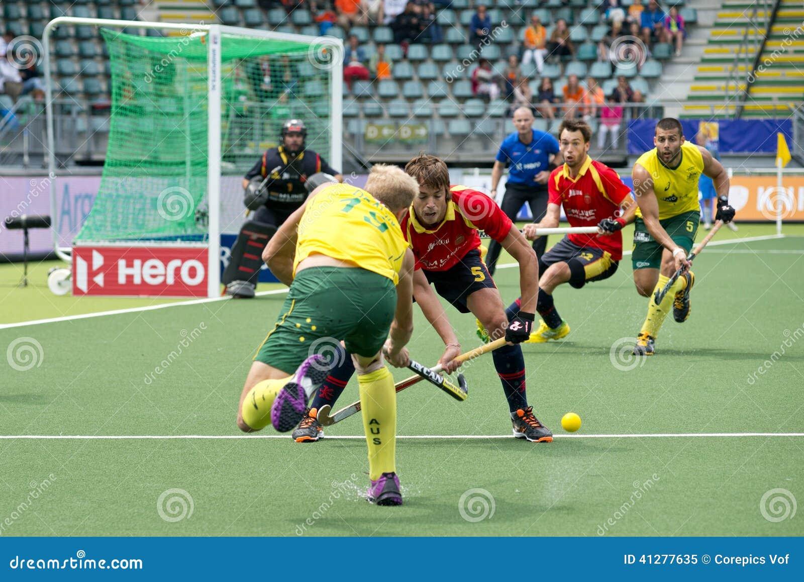 Field Hockey action AUS vs ESP