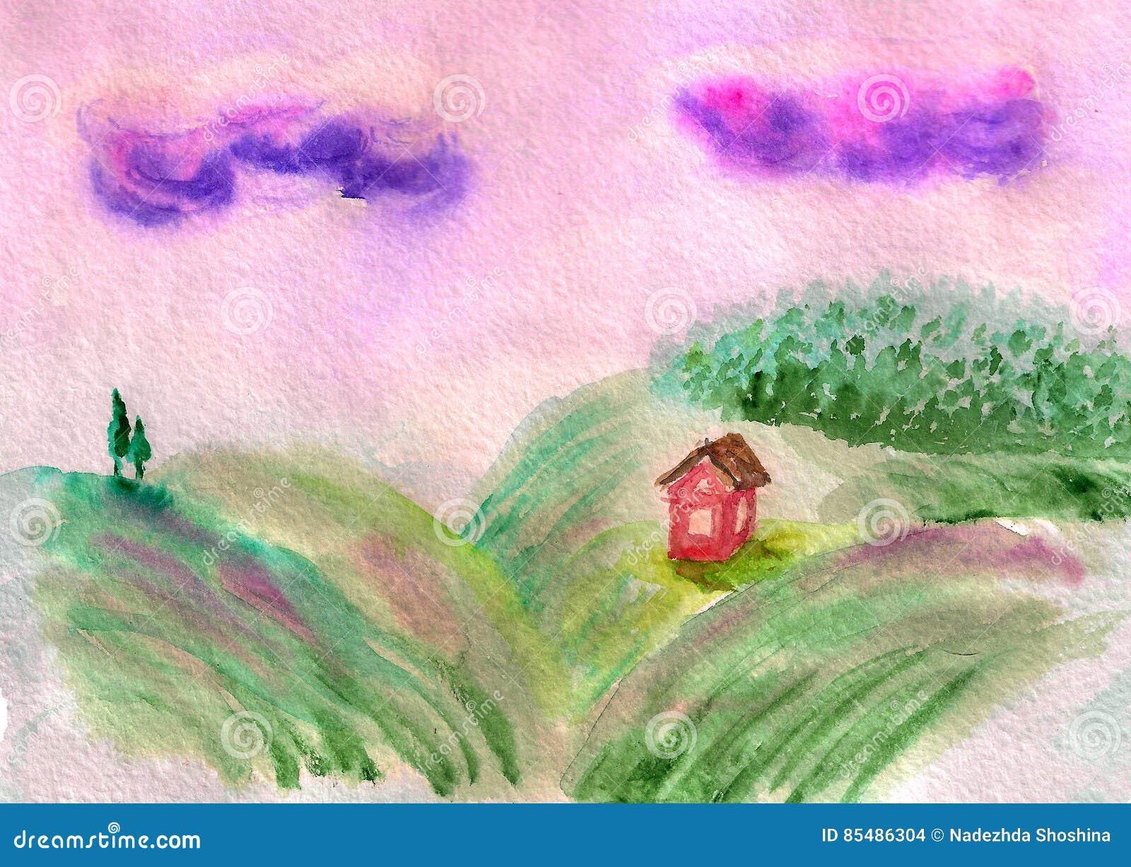 Field landscape with hills stock illustration. Illustration of ...