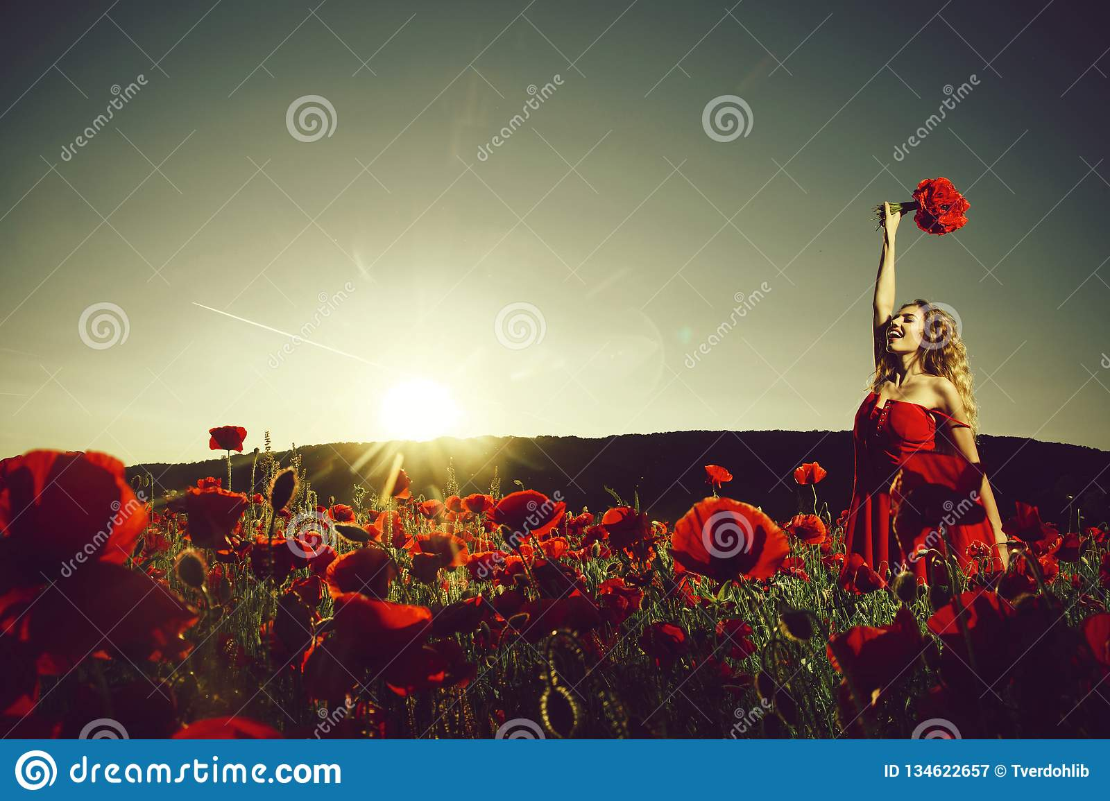 Field of poppy seed with happy woman