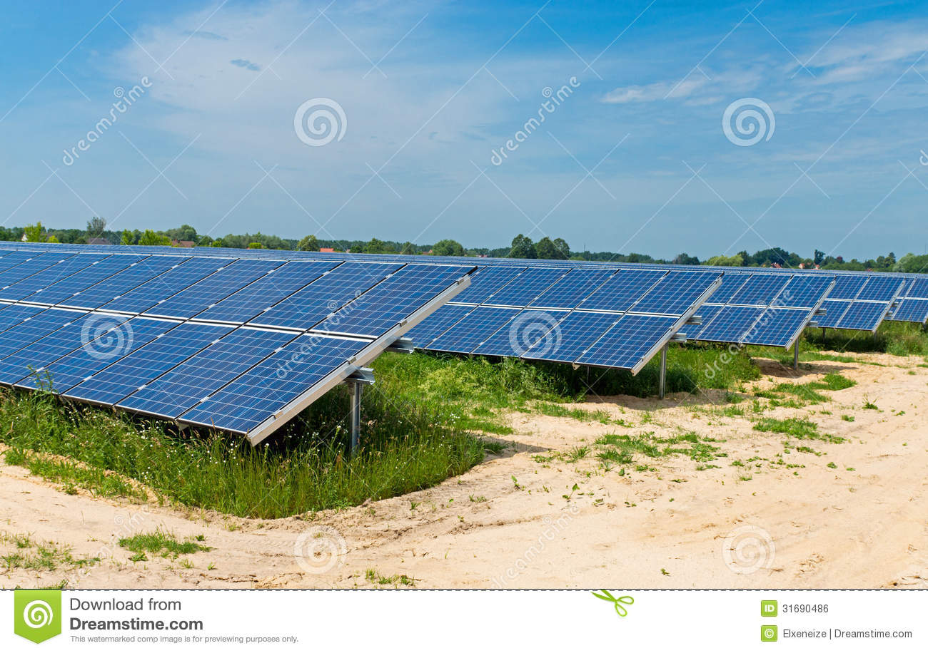 Field Of Solar Panels Royalty Free Stock Image Image