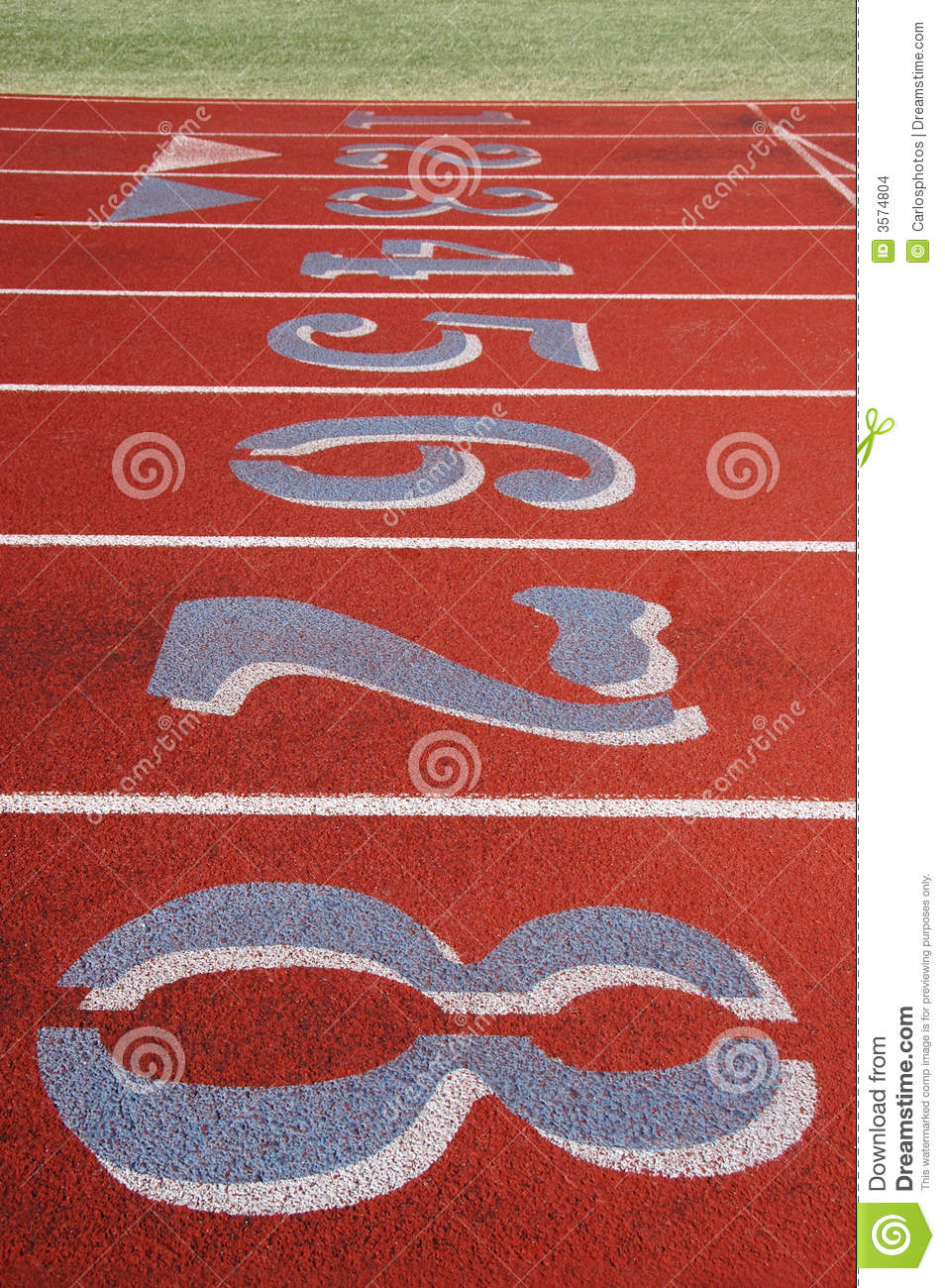 Field track with numbers