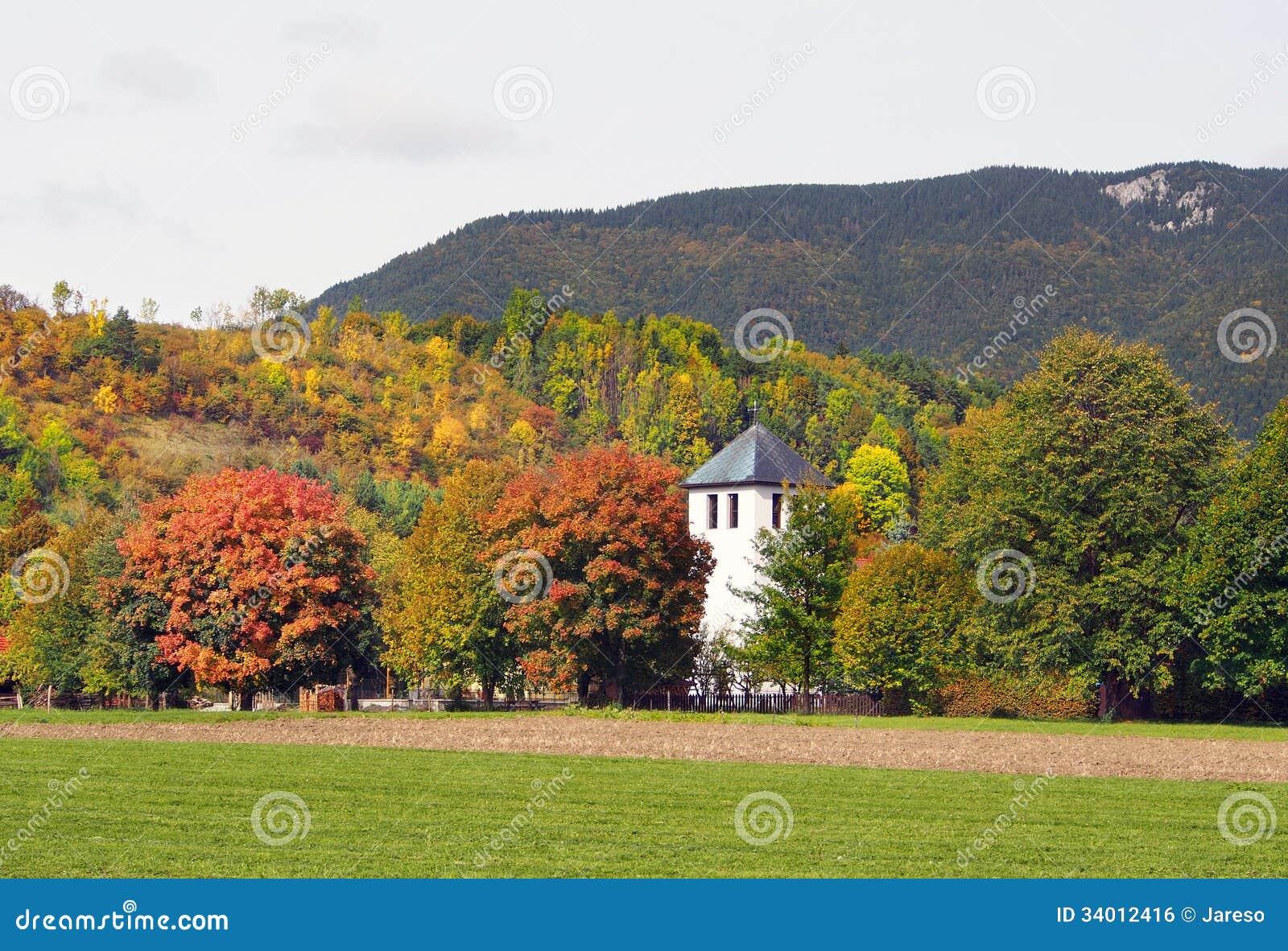 Fields and church in Liptovska Sielnica