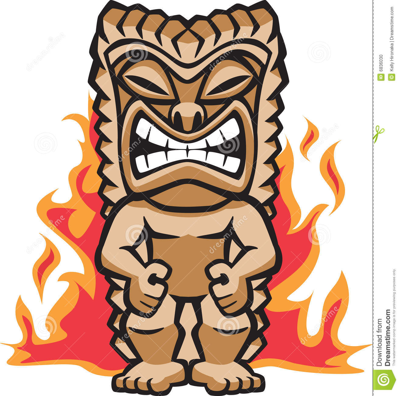 Illustration of a strong tiki warrior amongst burning flames.