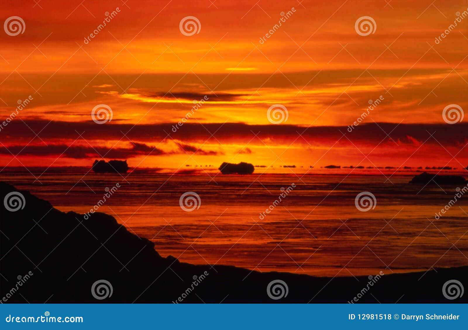 Fiery Antarctic Sunset