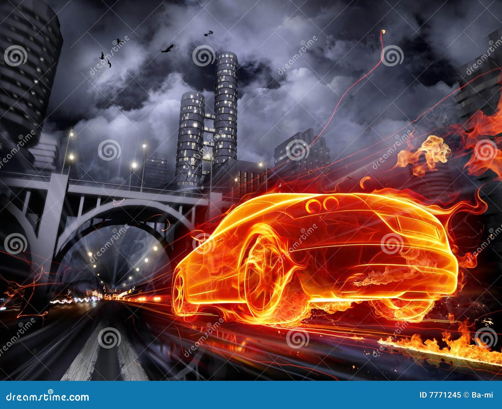 Fiery car