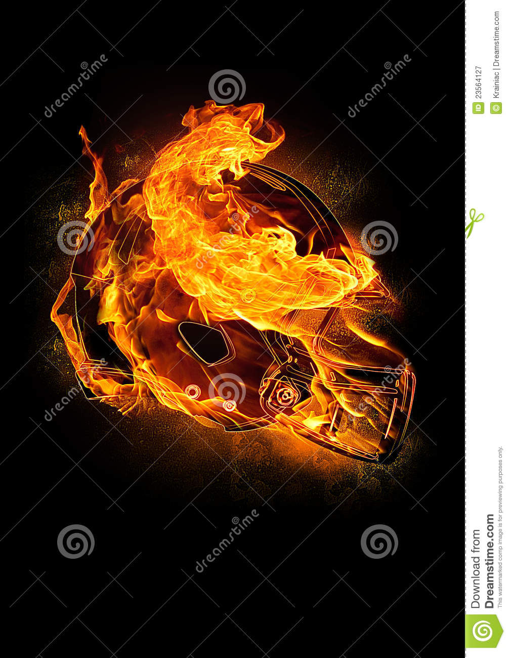 Fiery Football Helmet