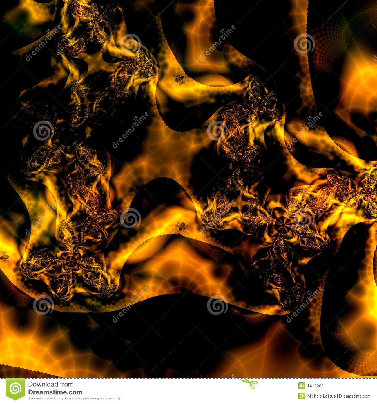 Fiery Gold And Black Abstract Background Pattern Design Or