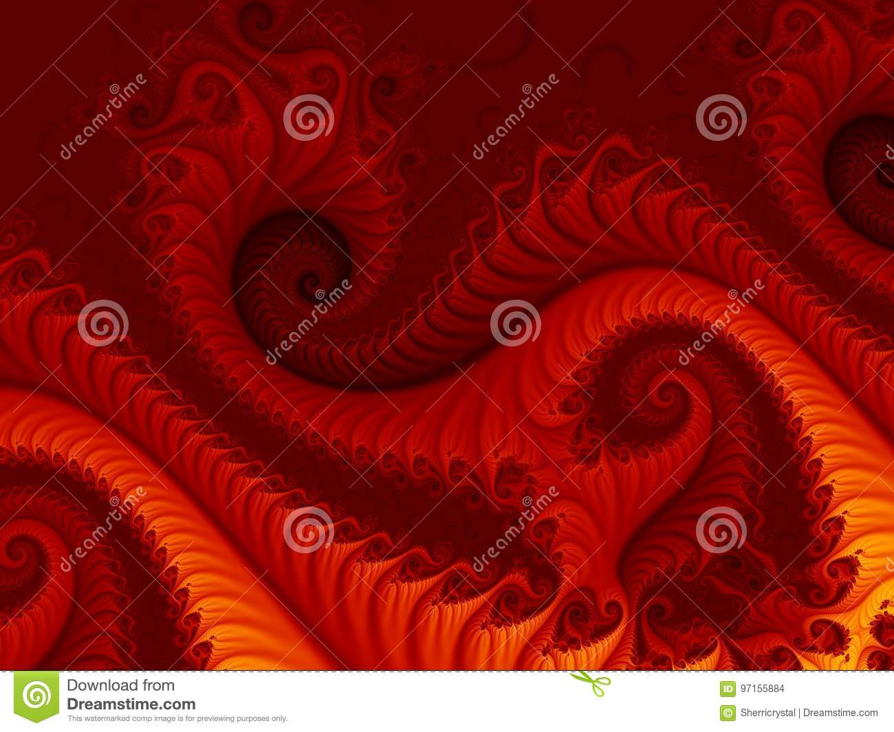 Fiery red abstract fractal background with swirling patterns, resembling a fire dragon