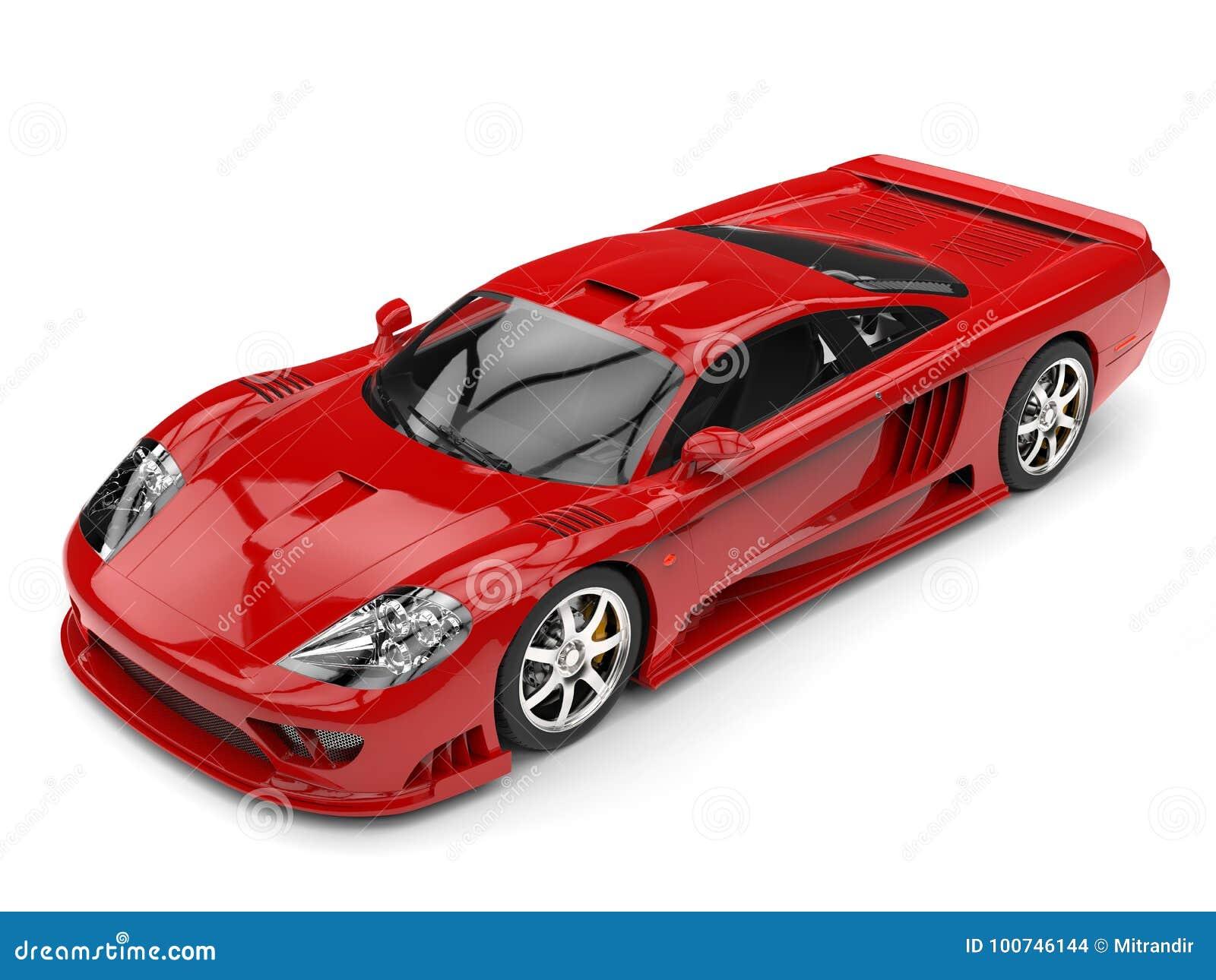 Fiery red modern super race car - top beauty shot
