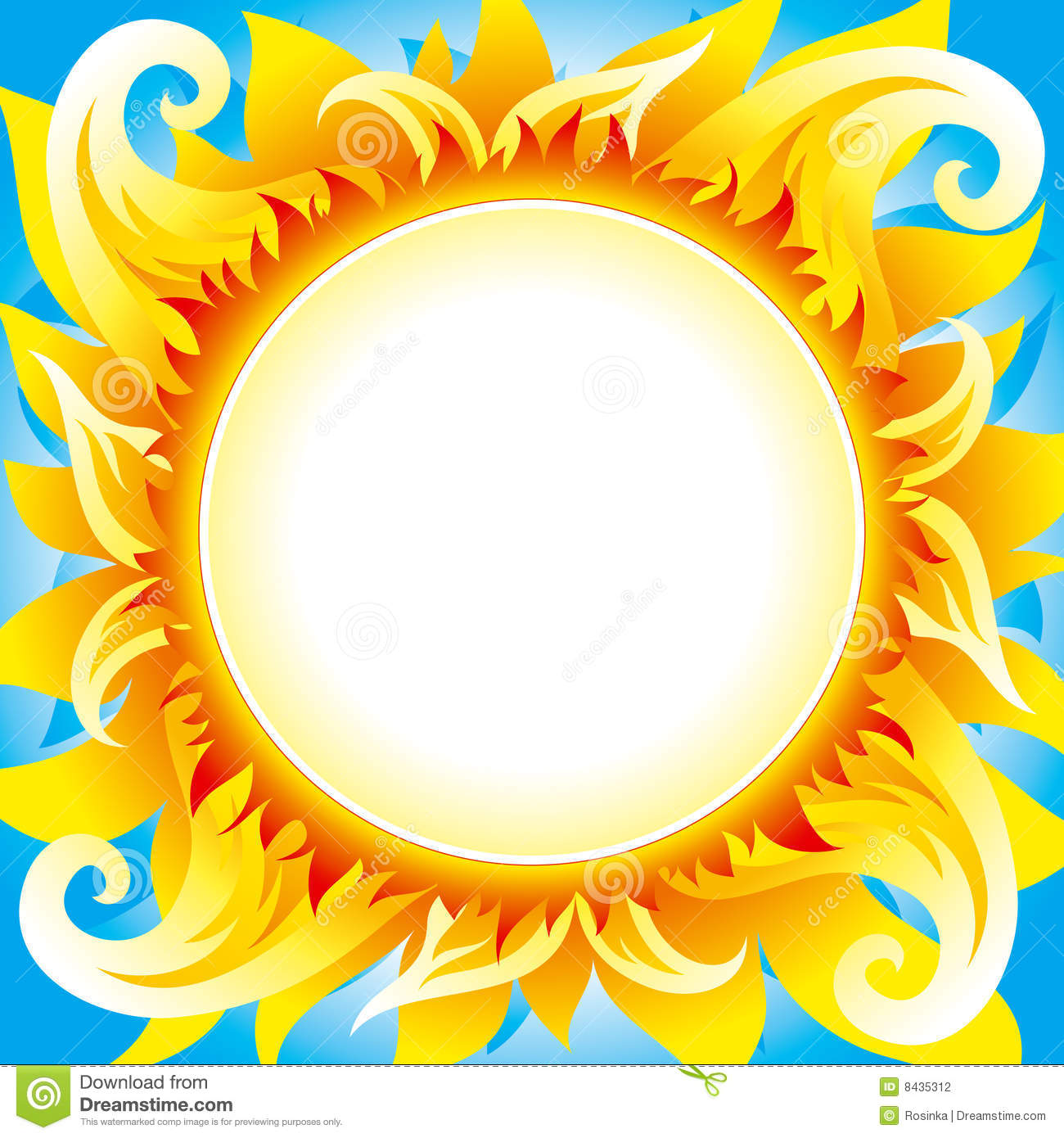 Bright fiery sun on blue sky with round place for text in center of ...