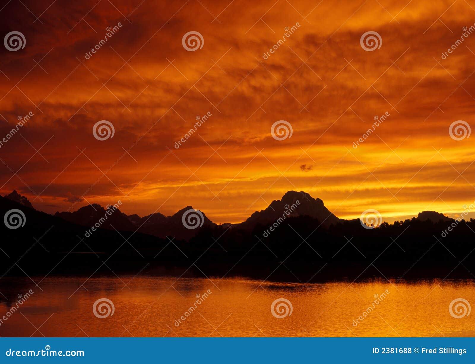 Fiery Sunset Over Teton