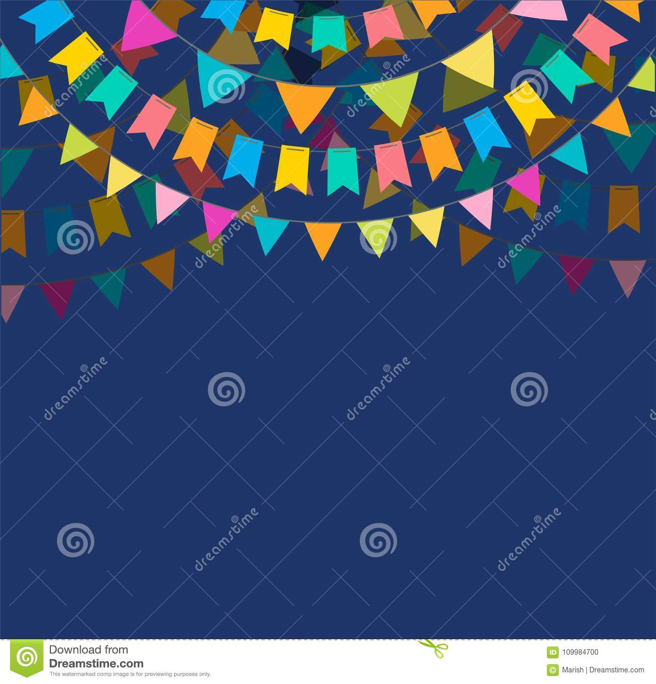 Fiesta banner and poster design with flags, decorations