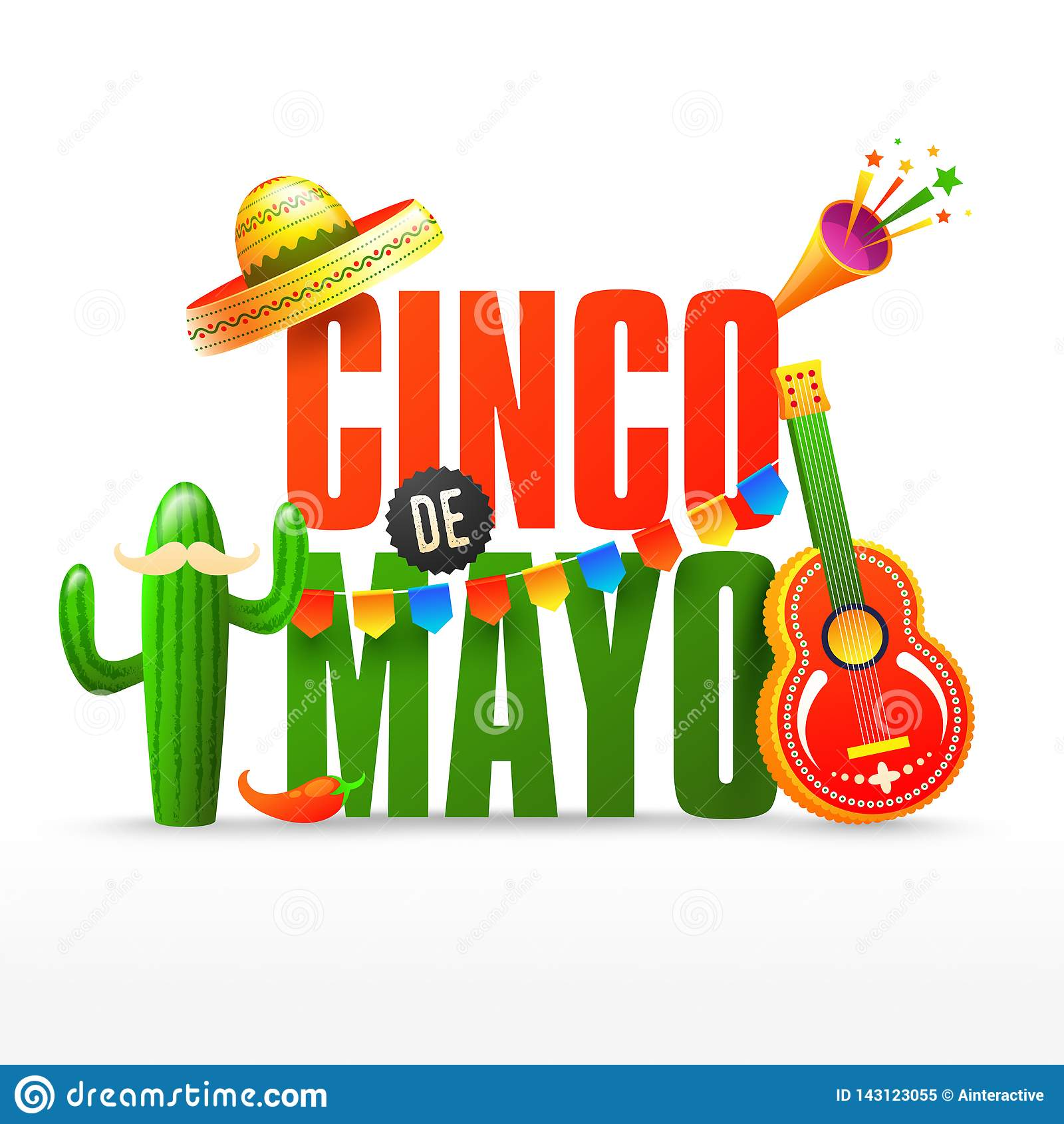 Fiesta bawi się ulotki lub plakatowego projekta dla Cinco De Mayo świętowania lub