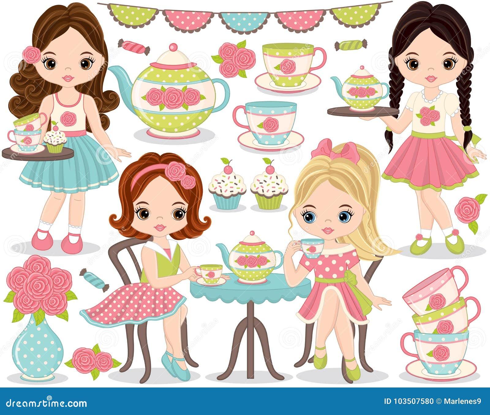 Fiesta del té del vector fijada con las niñas lindas que comen té