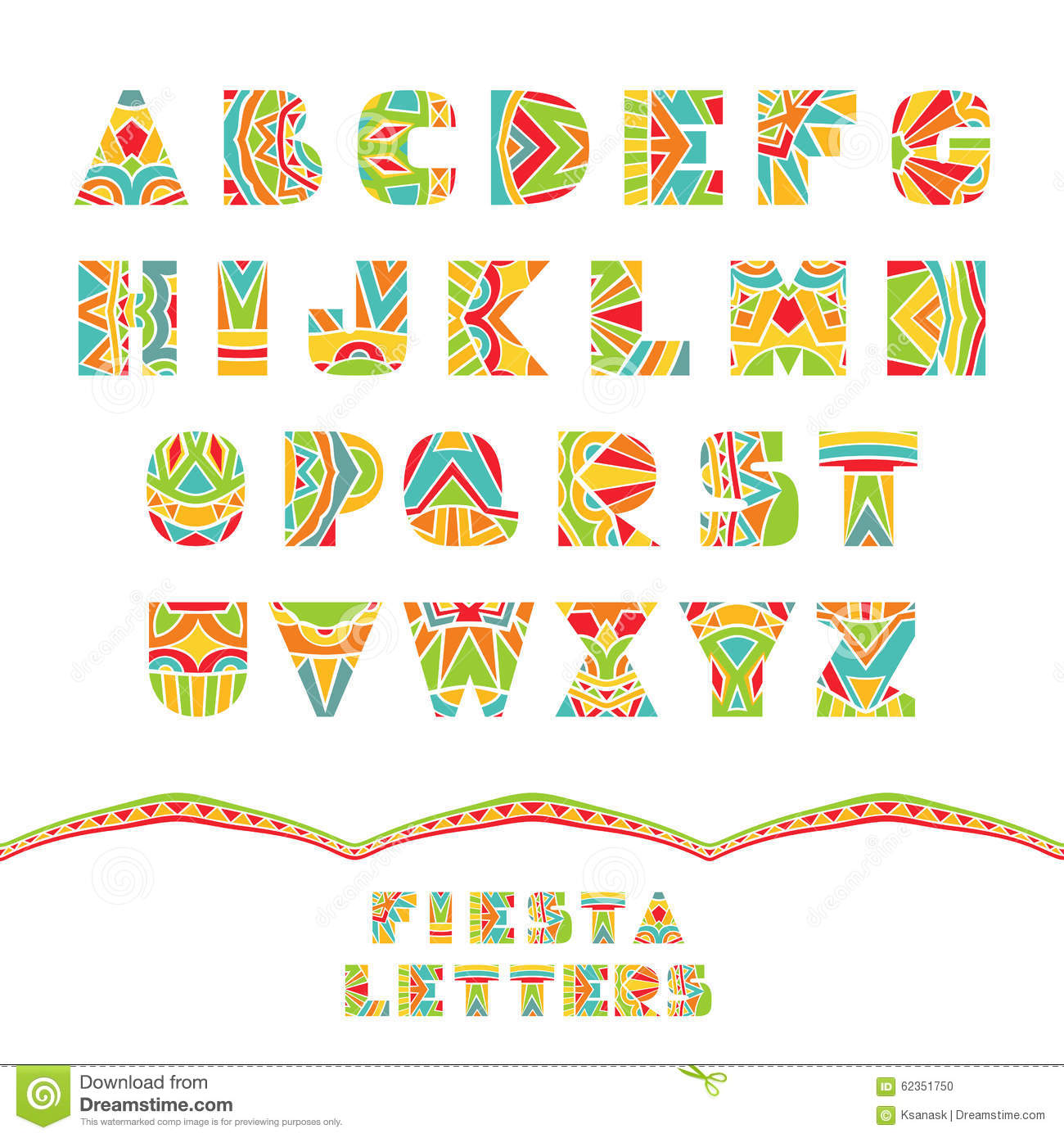 Set Of ABC Letters With Abstract Ethnic Pattern Rich Ornate Alphabet In Mexican Culture Style Fancy Multicolored Capital Schematic Shapes