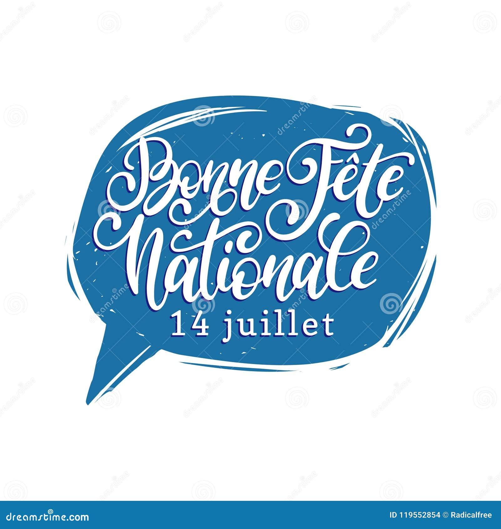 Fiesta Nationale Francaise Letras De La Mano En Burbuja Del