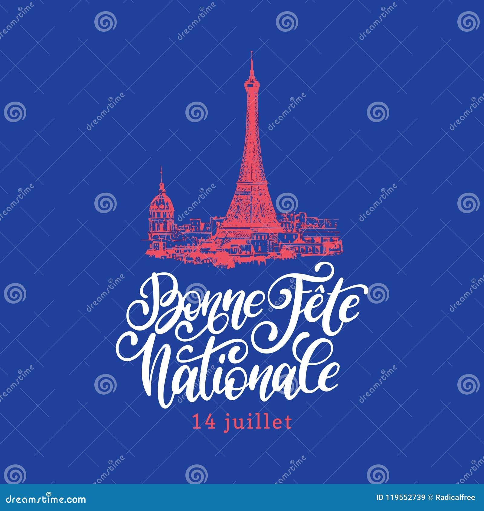 Fiesta Nationale Letras De Bonne De La Mano Frase Traducida