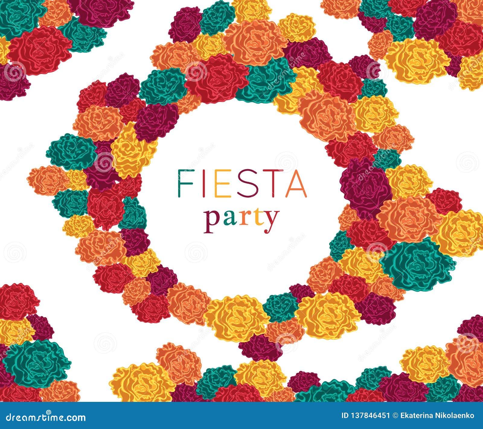 Fiesta przyjęcie Świąteczny tło z papierowymi kwiatami Projektuje szablon dla zaproszenia, kartka z pozdrowieniami, sztandar, dru