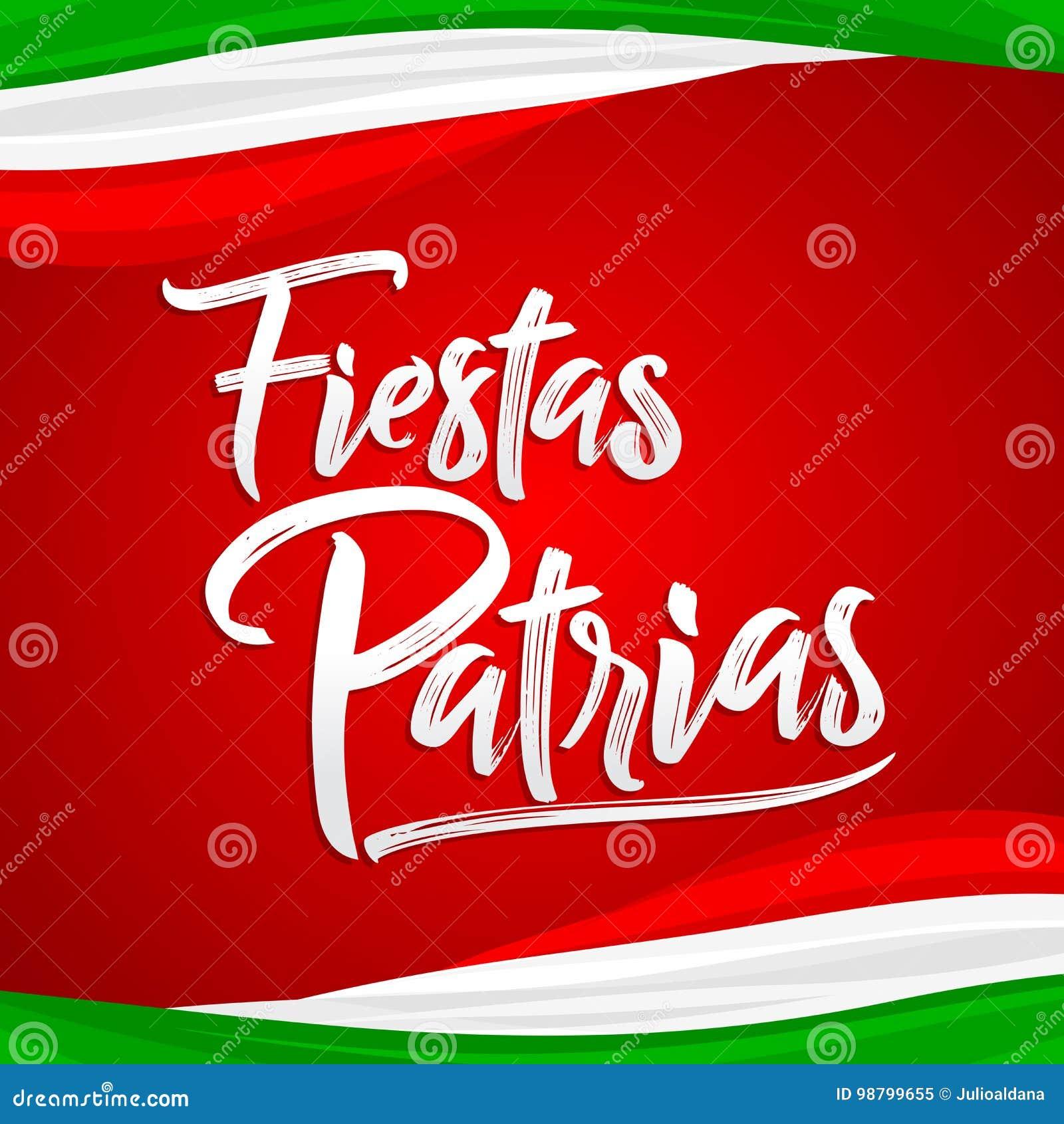 Fiestas Patrias National Holidays Spanish Text Mexican