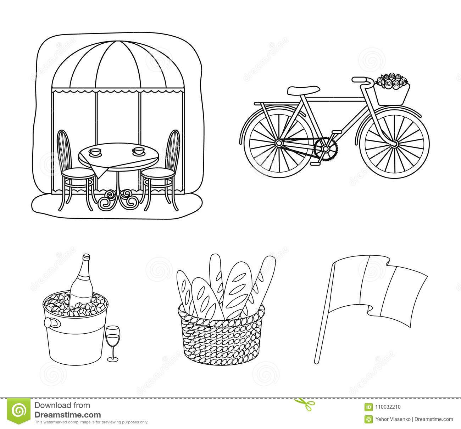 Fiets, vervoer, voertuig, koffie Vastgestelde de inzamelingspictogrammen van het land van Frankrijk in illustratie van de het sym