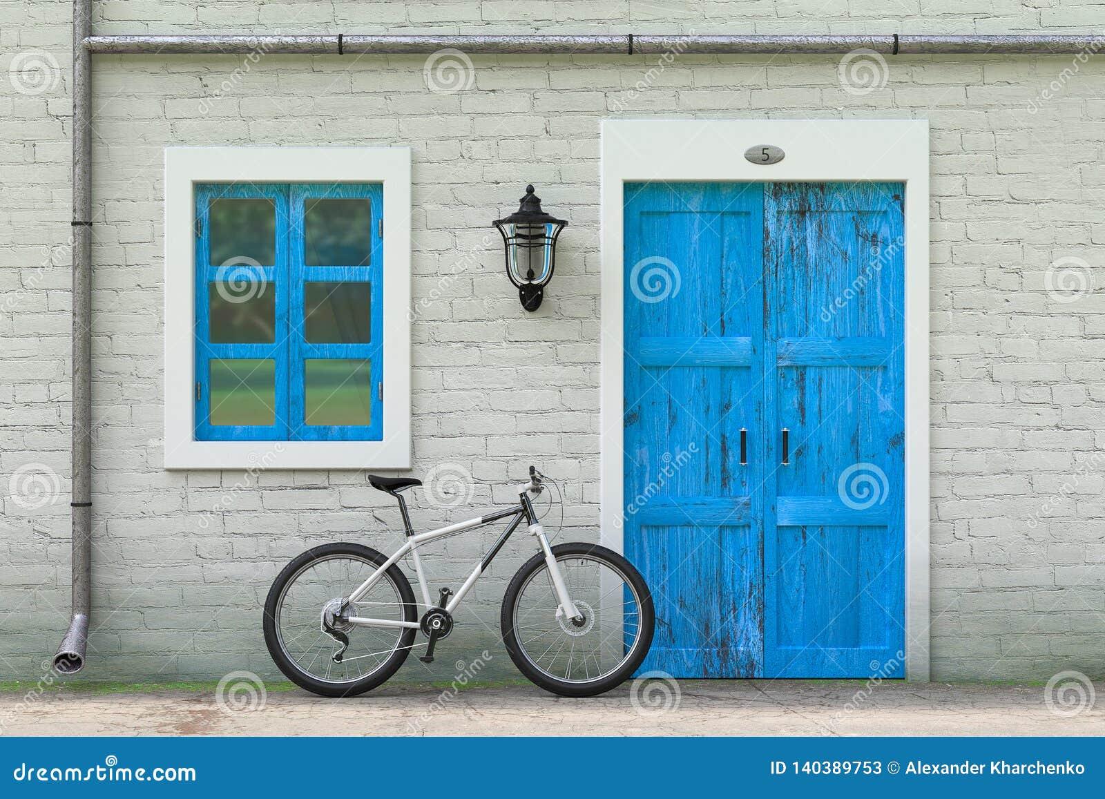 Fiets voor Retro Uitstekende Europese Woningbouw, Smalle Straatscène wordt geparkeerd die het 3d teruggeven