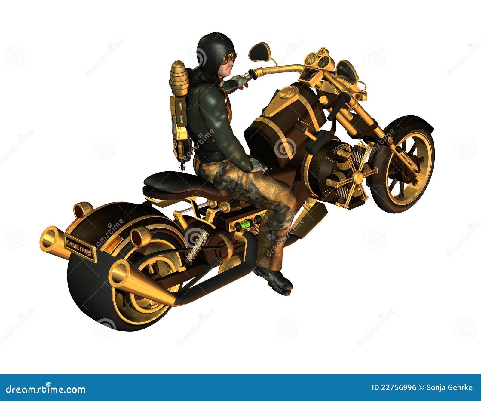 Fietser op een motorfiets Steampunk