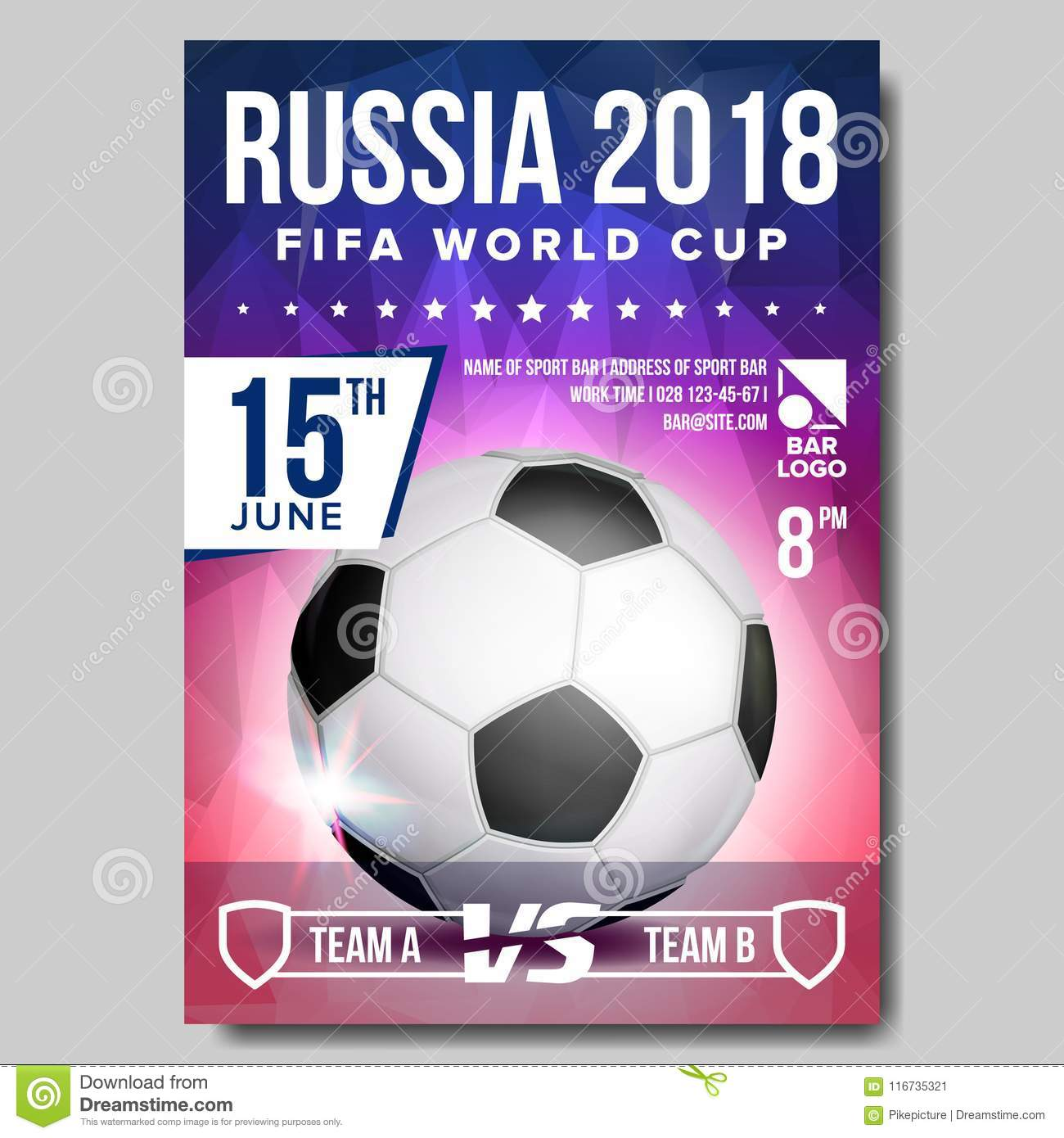9d8e06b00 2018 FIFA World Cup Poster Vector. Russia Event. Soccer Banner Advertising.  Sport Event