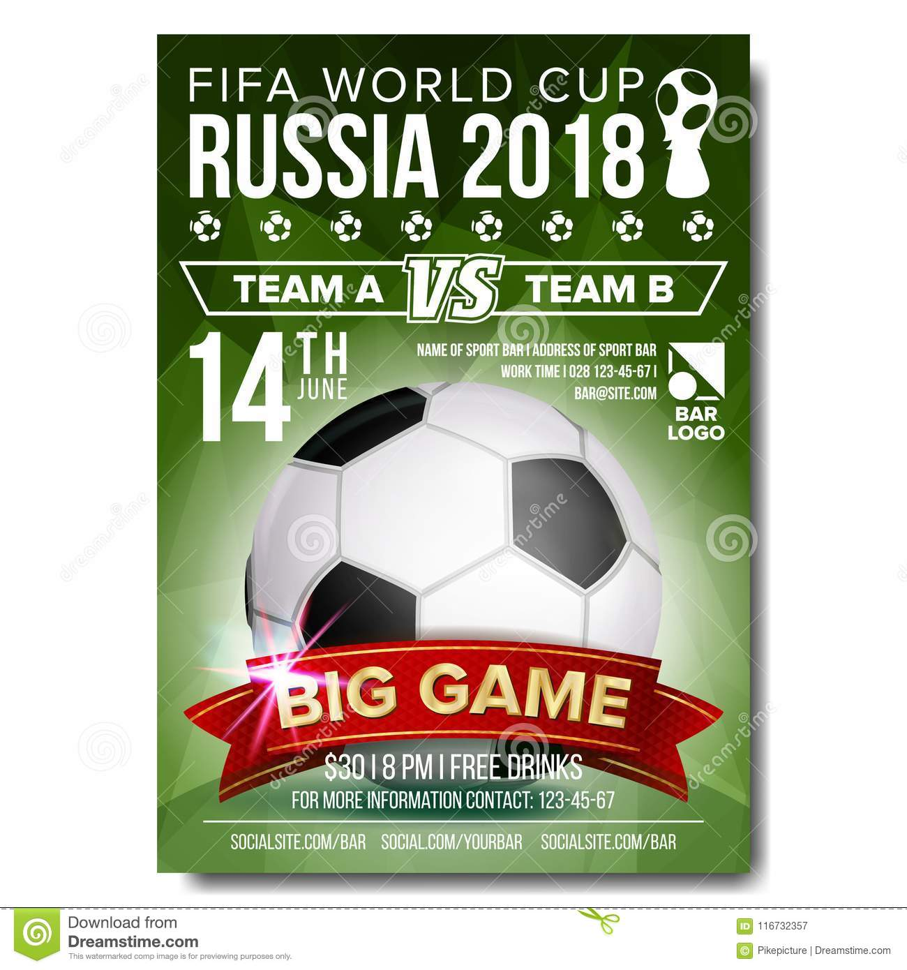 899a6e8a3 2018 FIFA World Cup Poster Vector. Russia Event. Soccer Design For Sport  Bar Promotion. Football Ball. Soccer Graphic. Modern Tournament Design.