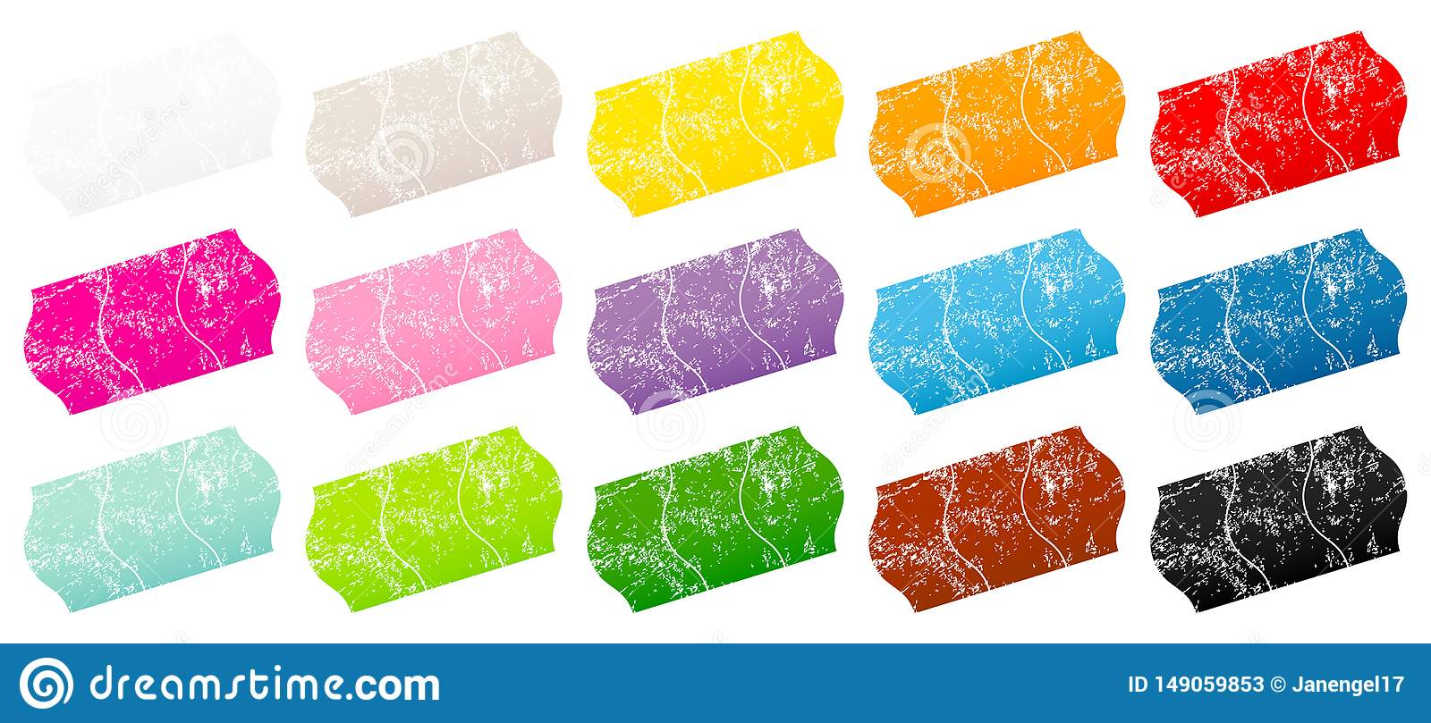 Fifteen Divided Price Tags Sticker Color Scratches