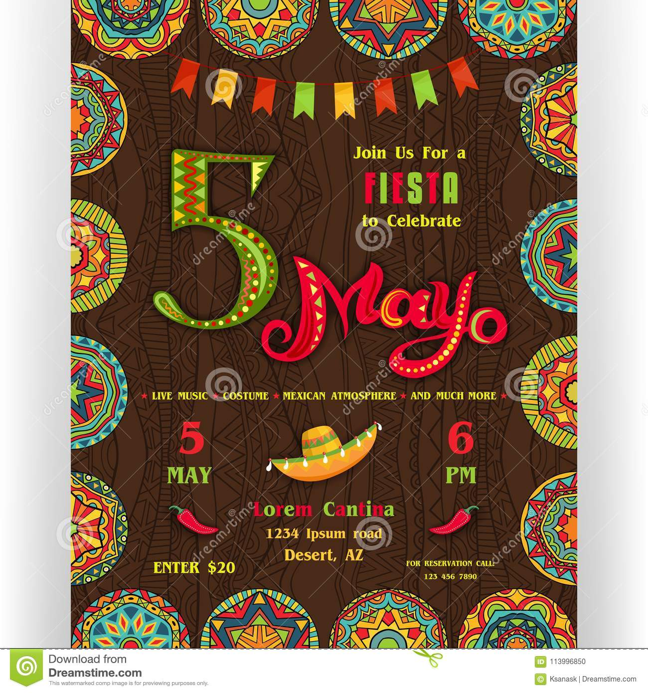 Fifth Mayo Fiesta Announcing Poster Template Stock Vector