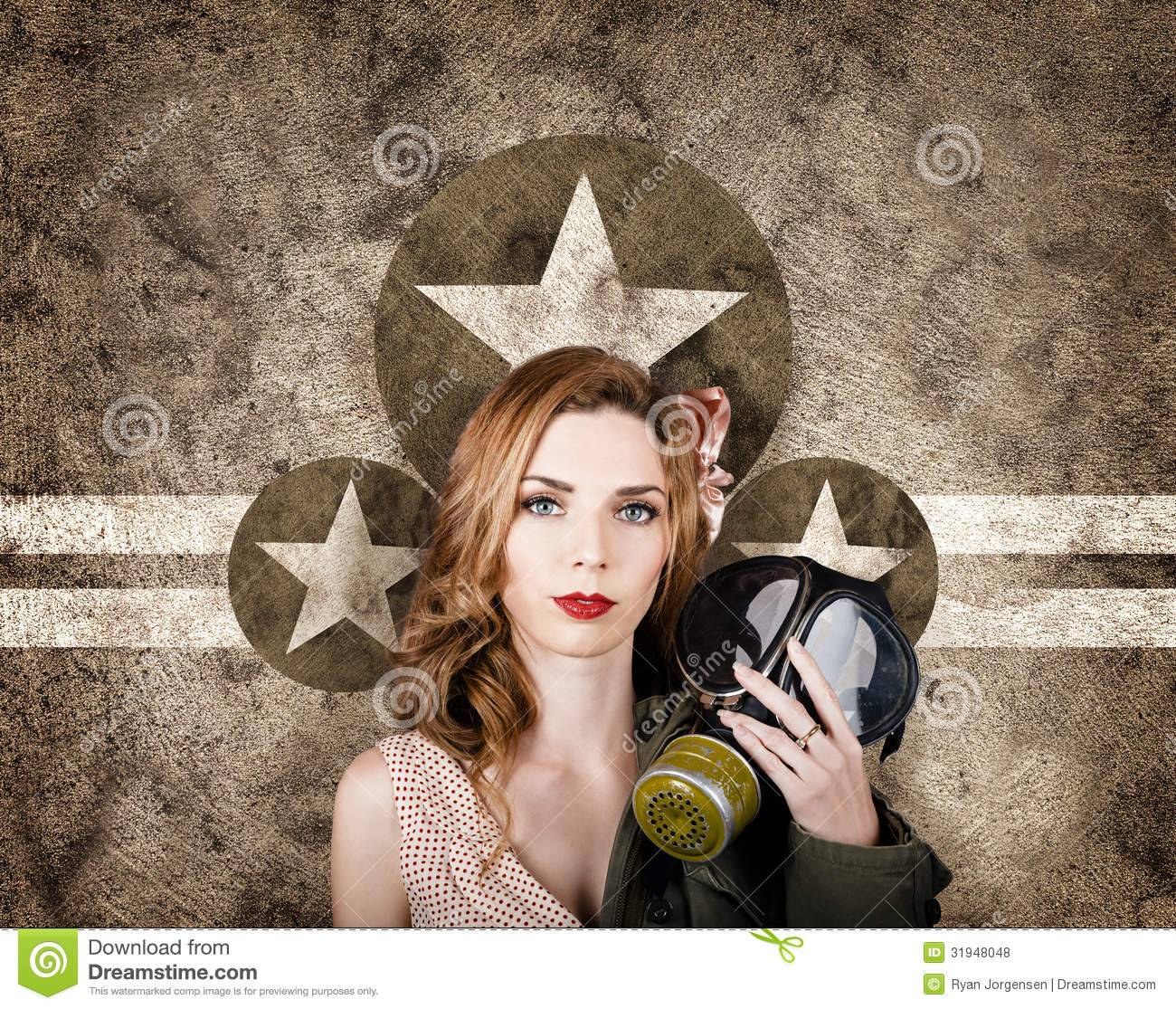 Fifties Army Pin Up Woman. Remembrance Day Stock Photo ...