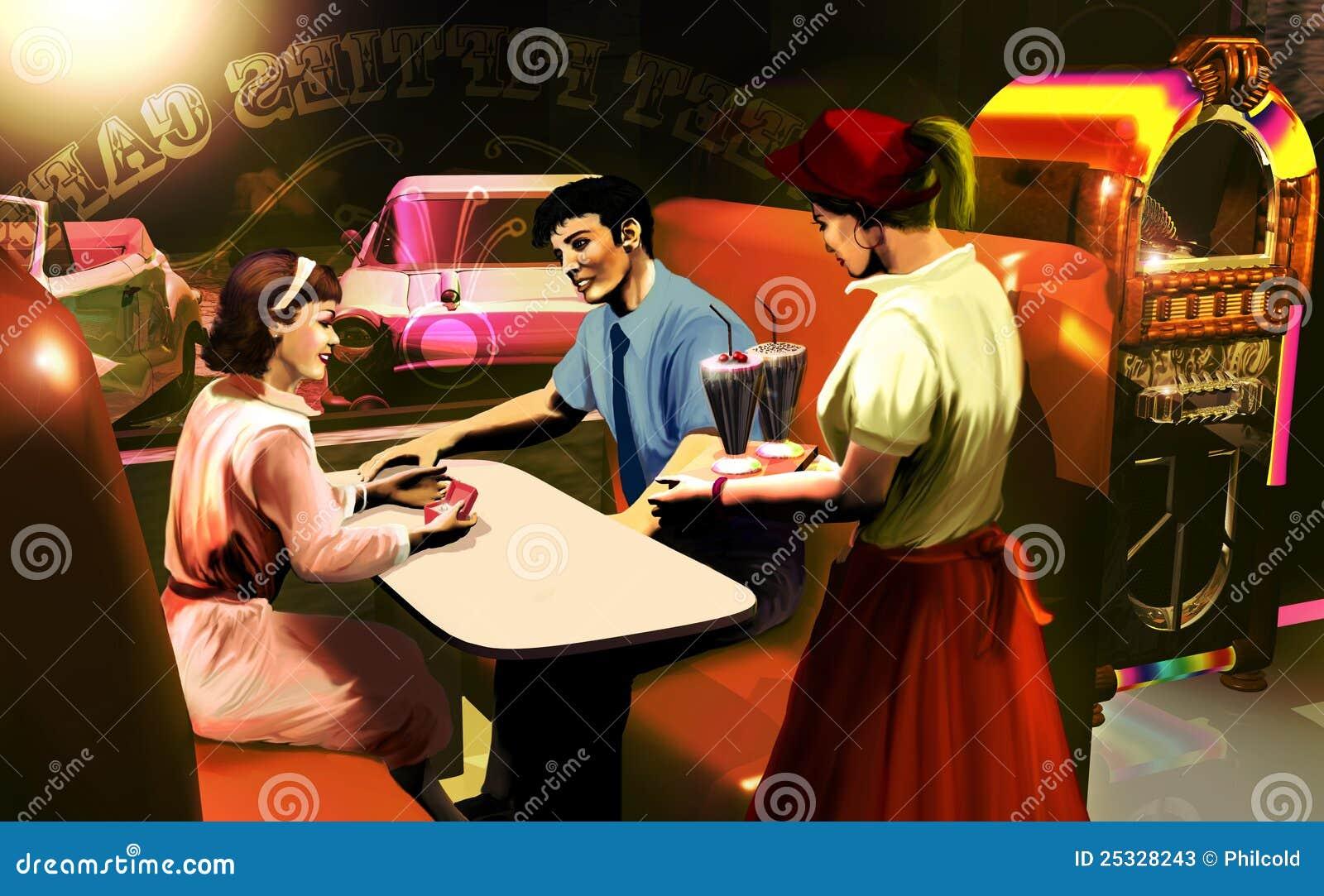 Fifties Cafe Scene Stock Photos Image 25328243