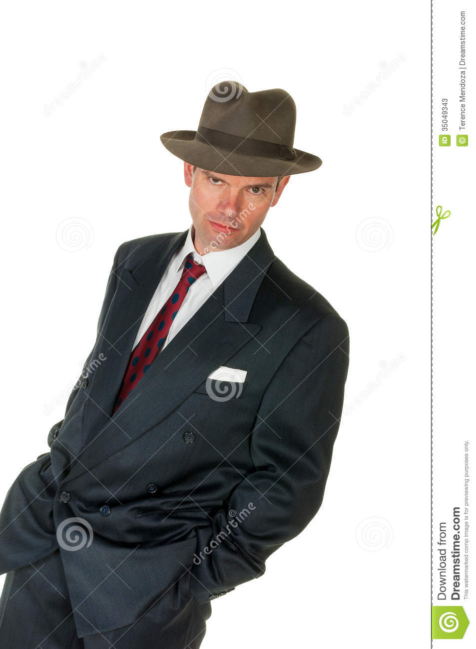 Fifties Retro Man Wearing Trilby On White Stock Image