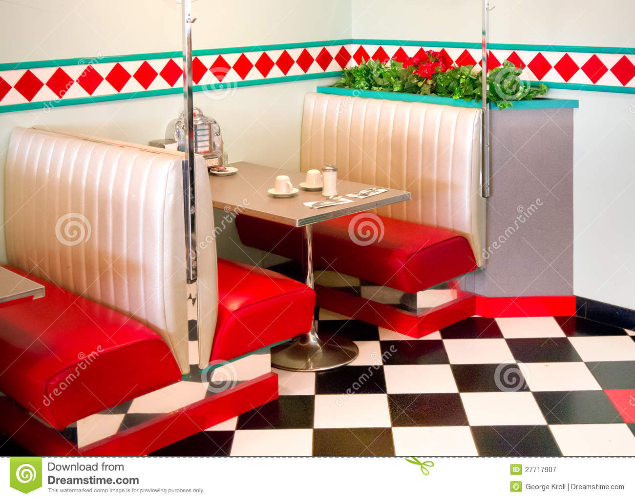 Fifties Style Restaurant Diner Table Stock Image Image