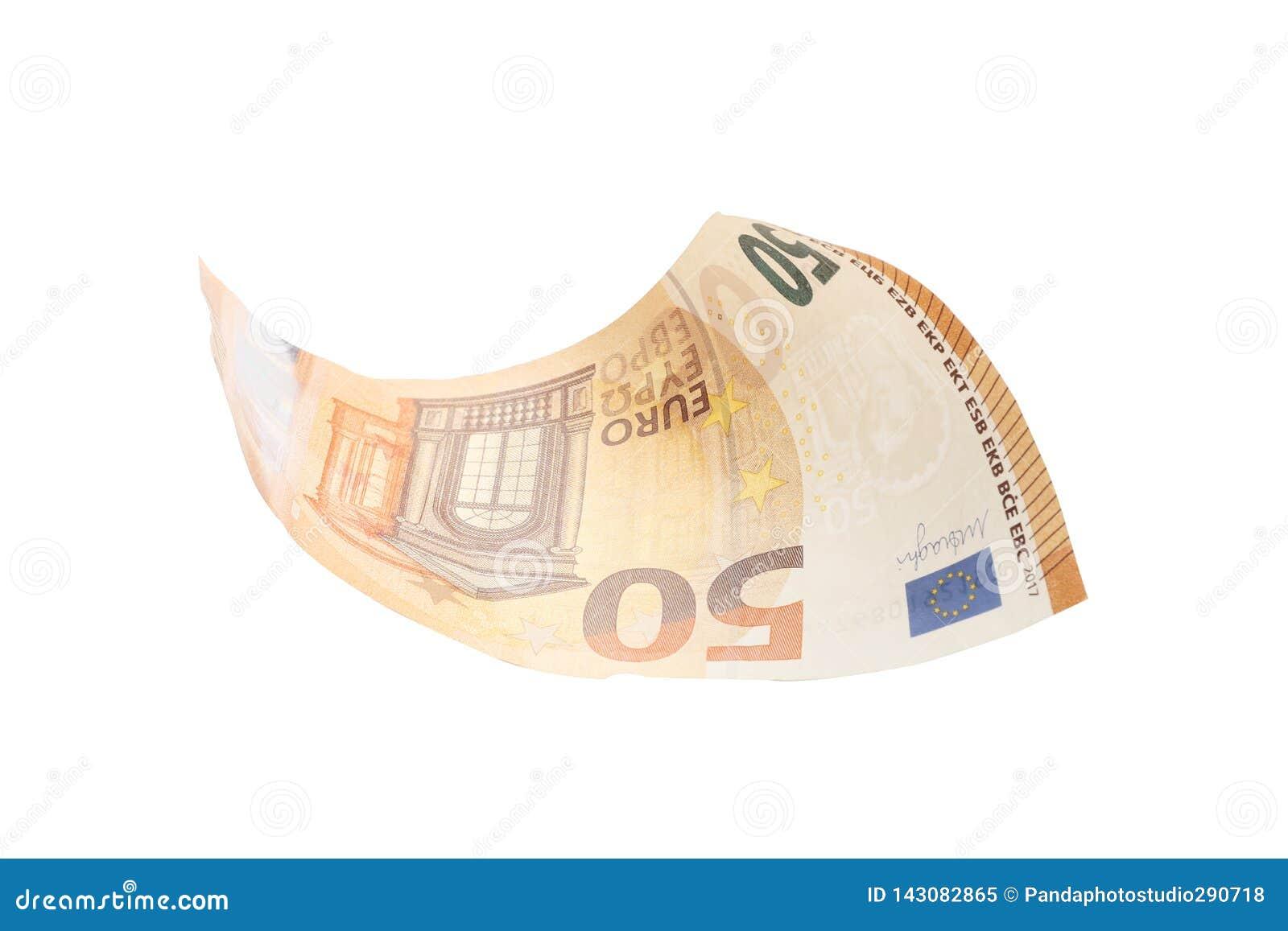Fifty euro isolated on white background, finance, business, economy
