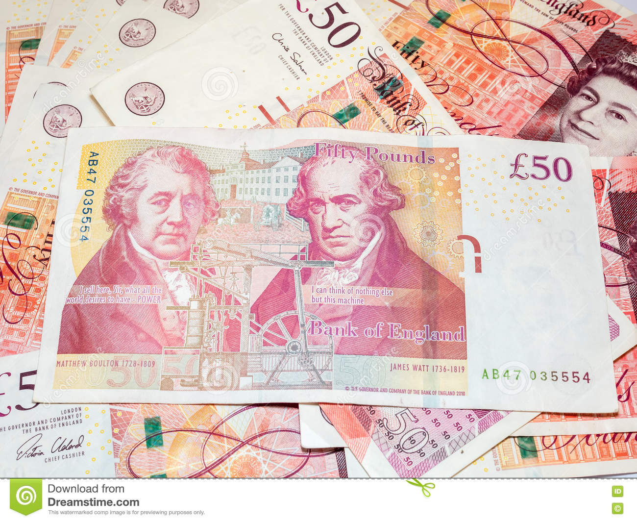 Fifty pounds British bank notes