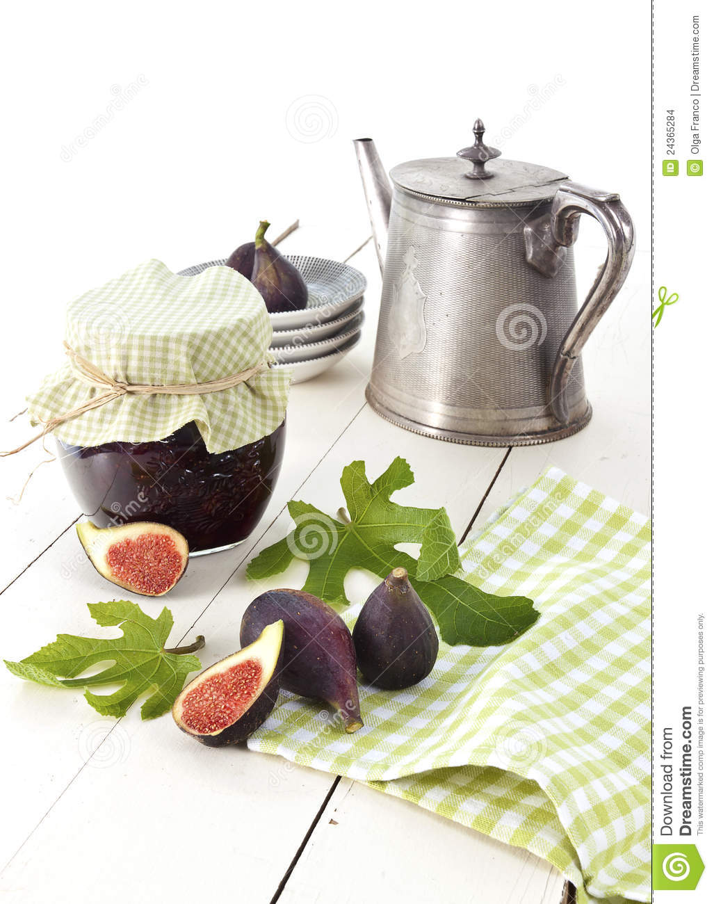 Black mission fig jam and fresh figs with leaves. French country style ...