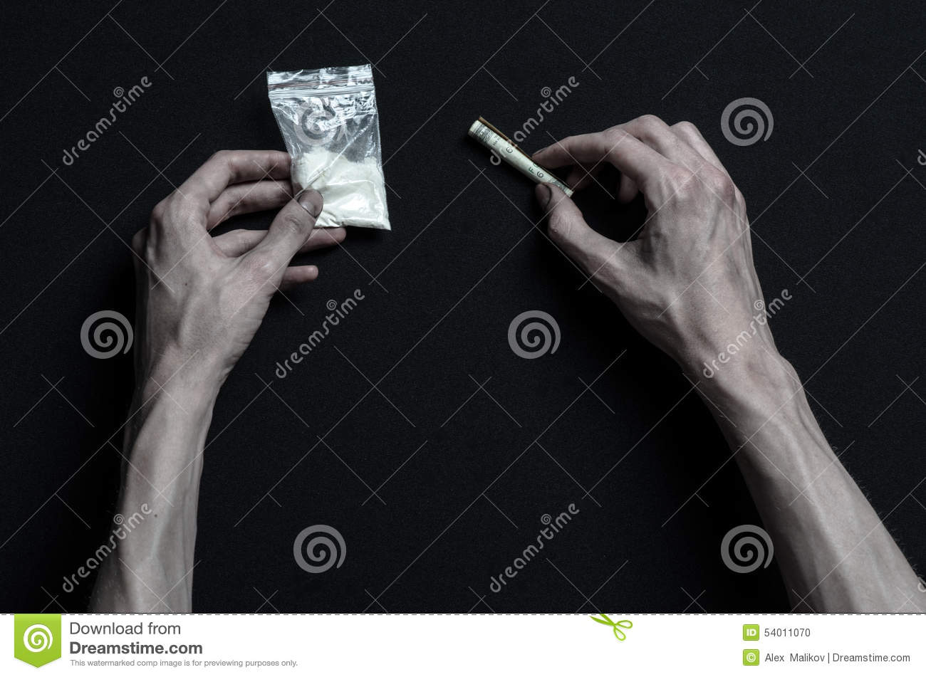 The Fight Against Drugs And Drug Addiction Topic: Hand Addict Lies On A Dark  Table