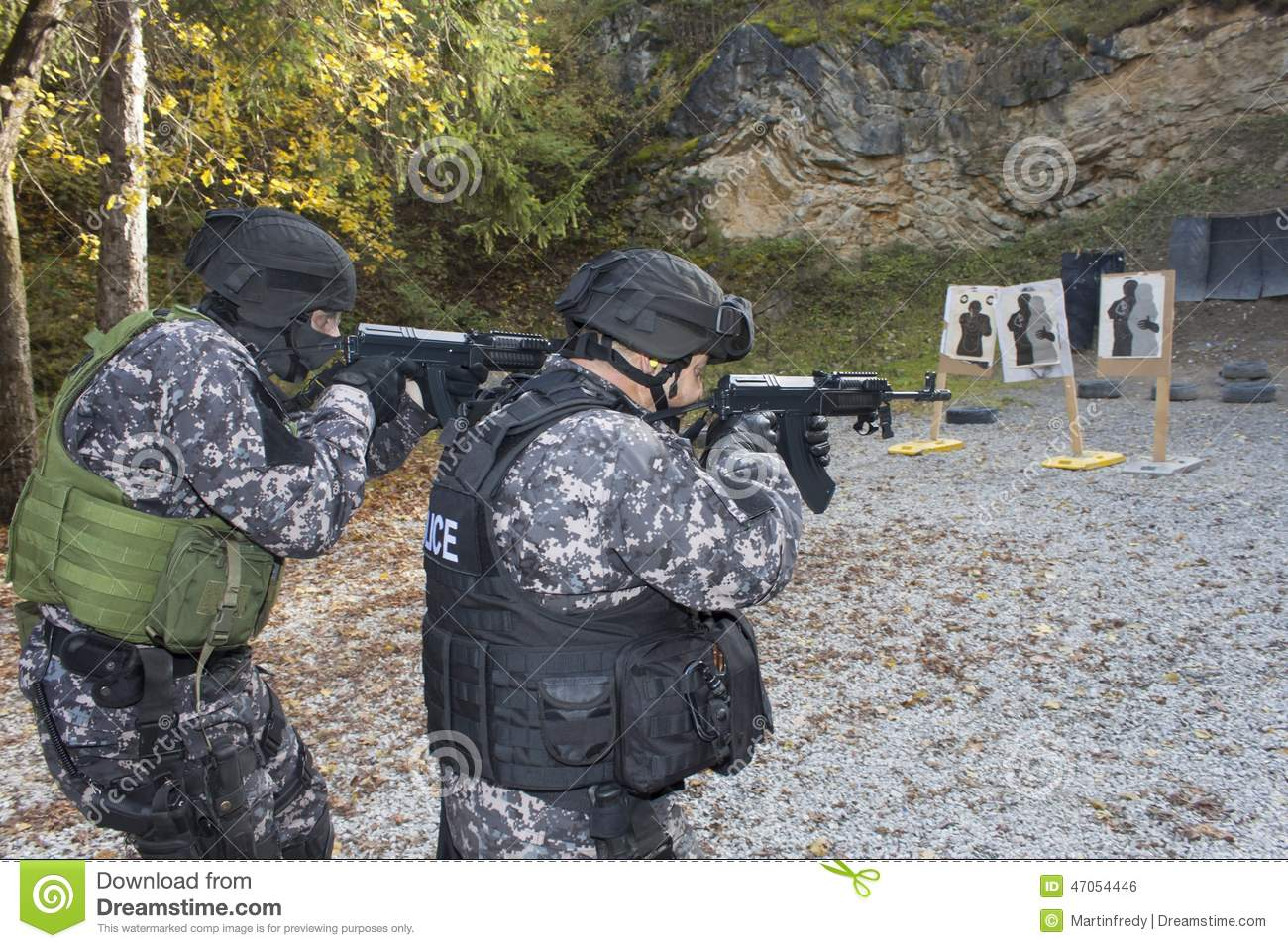 Fight against terrorism, Special Forces soldier, with assault rifle, police swat