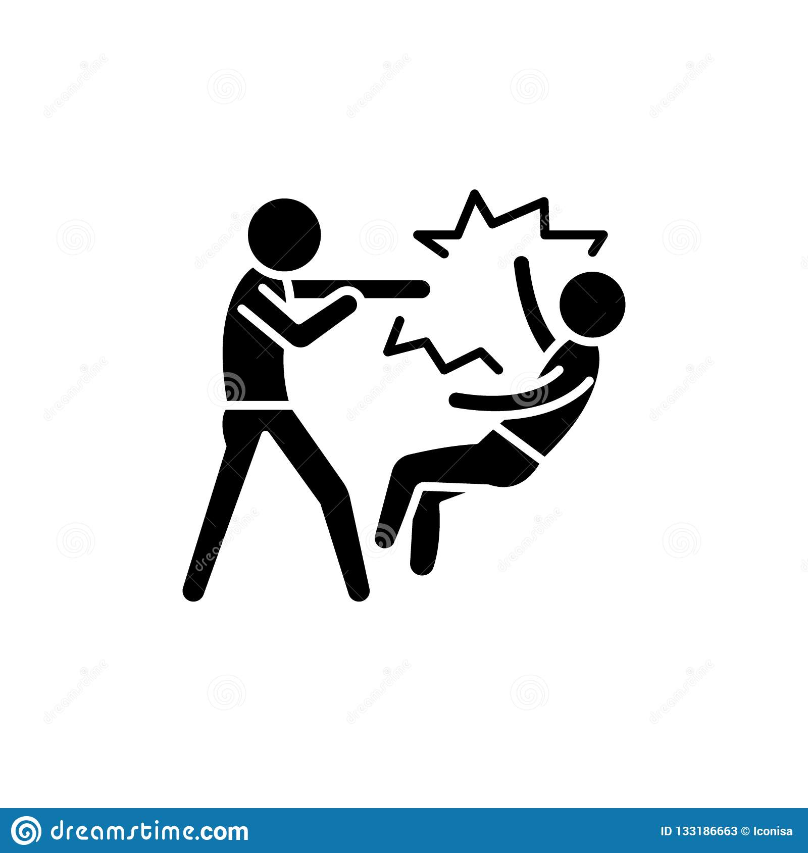 Fight Black Icon, Vector Sign On Isolated Background ...