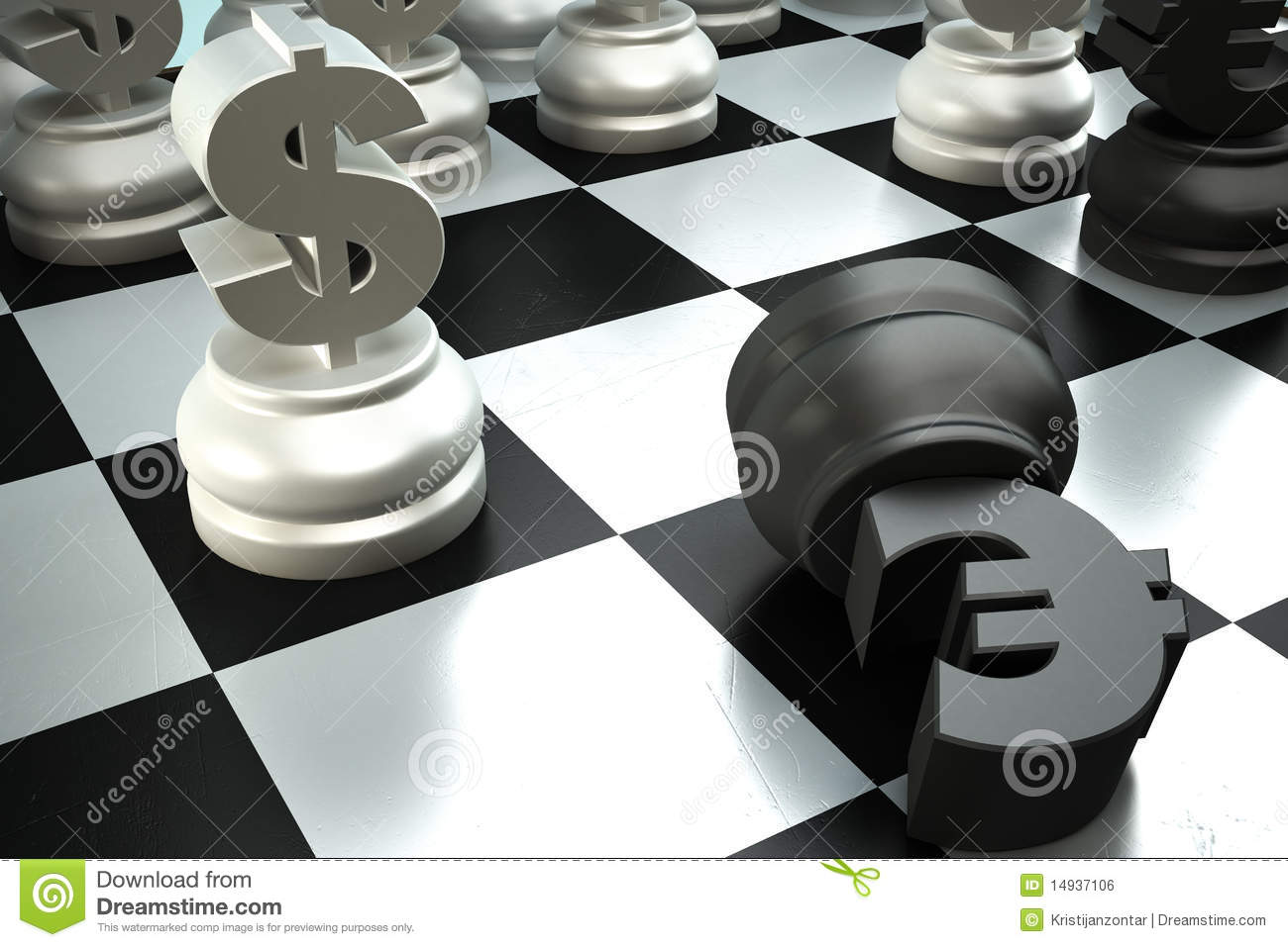 A fight between dollar end euro chess pieces